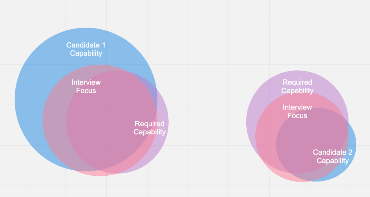 Venn diagram showing capabilities discerned during interview when using a career ladder.